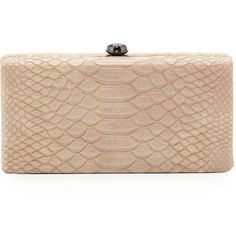 Neiman Marcus Snake-Embossed Box Evening Clutch Bag ($46) ❤ liked on Polyvore featuring bags, handbags, clutches, camel, special occasion purses, chain strap purse, neiman marcus handbags, neiman marcus purses and box clutch