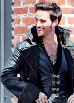Colin on set...... I swear his hair gets more fabulous every season.