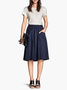 Women's Midi Skirt - Navy Blue / Fan Art / Big pockets