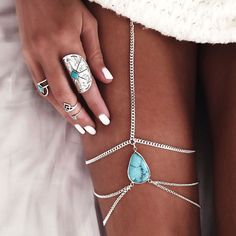Vintage Boho Joias Antique Silver Turquoise Leg Chains Multilayer Sexy Thigh Body Chain Necklaces Women Collier Beach Jewelry