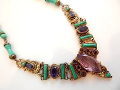 Rare Max Neiger, Czech, Brass And Glass, Purple and Green, Suffragette Necklace