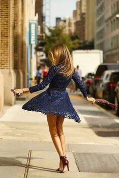 navy lace dress.