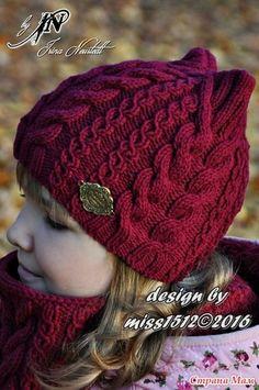"Photo from album ""мои работы on Yandex. Knitted Hats Kids, Baby Hats Knitting, Knitting For Kids, Kids Hats, Baby Knitting Patterns, Lace Knitting, Knitting Stitches, Crochet Baby Bonnet, Crochet Yarn"