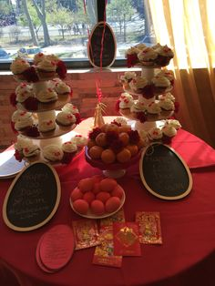 Tablescape for Liams Red Egg and Ginger Party / 100 days party