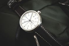 Men's Xetum Watch: Tyndall, Off-White Dial, Brown Leather Strap.
