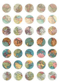 Planner Stickers, Journal Stickers, Scrapbook Stickers, Printable Maps, Printable Stickers, Round Stickers, Cute Stickers, Vintage Maps, Antique Maps