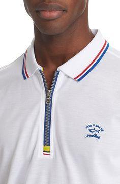 Polo Placket Zipper Source by Polo Vest, Mens Polo T Shirts, Boys T Shirts, Mens Tees, Men's Polo, Paul Shark, Shark S, Camisa Polo, Polo Design