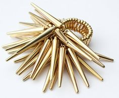 Gold Spiked Ring  Spiked Stretch Cluster Ring by PynkKrush on Etsy, $8.00