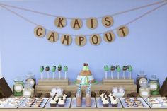 High+Chair+Birthday+Banner+camping+theme | Camping Theme Party