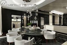 Projekt domu 140m2 Inventive Interiors - piękna jadalnia z owalnym stołem - lampy nad stół