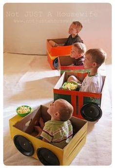 DIY/for Kids :: drive in movie cars for family movie night. Great idea, fun to make (let the KIDS design/paint/decorate their own vehicle). Fun for a party or movie for family night @ preschool. Kids Crafts, Projects For Kids, Diy For Kids, Diy Projects, Crafts For Toddlers, Car Crafts, Games For Toddlers, Family Crafts, Easter Crafts