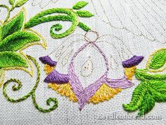 Embroidered Flowers on Secret Garden Project
