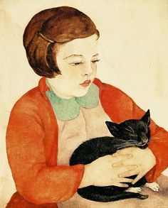 Hedda Oppenheim aka Hedo (German, 1900-??) - Fillette Au Chat (Girl With A Cat), 1932