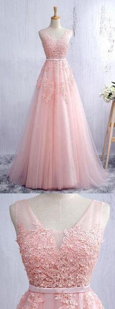 Lace Appliqued Blush Pink Prom Dresses,Long Blush Pink Bridesmaid Dresses H01408
