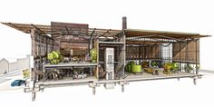 Matt Fuhr, Georgetown Chocolate Factory, Arch 501 Studio, Winter 2014. Advisor Elizabeth Golden. 3rd Place, Category II, ACSA-AISC Steel Design Student Competition, 2014-2015.. Image Courtesy of Department of Architecture at the University of Washington in Seattle