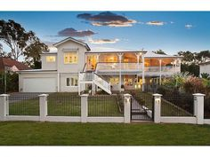 Raised Queenslander stair configuration: centre down to a landing; down left or right to the ground Hamptons Style Homes, Hamptons House, The Hamptons, Australian Architecture, Australian Homes, Exterior Colors, Exterior Design, Exterior Paint, Queenslander House