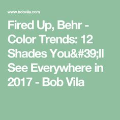 Fired Up, Behr - Color Trends: 12 Shades You'll See Everywhere in 2017 - Bob Vila