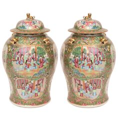 Pair of 19th Century Canton Palette Rose Medallion Covered Jars