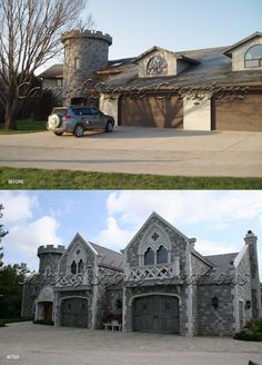 The garage of home that underwent this spectacular remodel project into a Gothic Castle definitely needed something to make it look more like  a castle.  We gave the garage a cathedral like look by increasing the size of the gables to accommodate 2 large arched windows with balconies and replaced the aluminum garage doors with large wooden doors.  Click the image to read more about this amazing project.