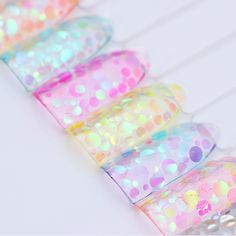 Mermaid Nail Sequins Flakes 1.5g Semi-transparent Colorful Round Paillette Flakies Manicure Nail Art Decorations  Price: 1.03 USD