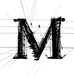 A Typeface made out of images of power lines. It plays with the contrast between industrial rough black and white look and fine renaissance antiqua letterforms. i did that years ago in art school but it has still some power. Typography Images, Typography Served, Cool Typography, Typographic Design, Typography Inspiration, Typography Letters, Cool Fonts, Graphic Design Typography, Lettering Design