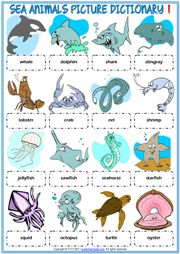 Sea Animals ESL Printable Picture Dictionary For Kids Animal Worksheets, Vocabulary Worksheets, Vocabulary Cards, Worksheets For Kids, Printable Worksheets, Animal Dictionary, Dictionary For Kids, Picture Dictionary, Animal Activities For Kids