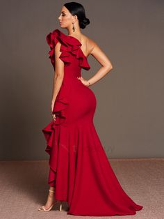 Red One Shoulder Falbala Women's Maxi Dress Elegant Dresses, Cute Dresses, Beautiful Dresses, Bridesmaid Dresses, Prom Dresses, Summer Dresses, Formal Dresses, African Fashion Dresses, African Dress
