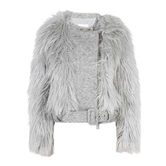 Band of Outsiders Faux Fur Biker Jacket (1.600 NOK) ❤ liked on Polyvore featuring outerwear, jackets, coats, fur, coats & jackets, biker jacket, rider jacket, grey biker jacket, fake fur jacket and faux fur collar jacket