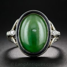 Art Deco Natural Jadeite and Diamond Ring - Antique & Vintage Gemstone Rings…