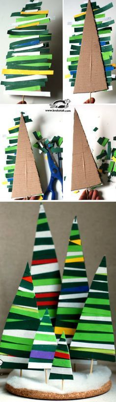 Papierstreifen werden zu Tannenbäumen.