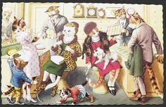 Alfred Mainzer Dressed Cats Postcard ~ Jewelry Store, Old ...