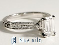 Engraved Micropavé Emerald Cut Diamond Engagement Ring in 18k White Gold #BlueNile