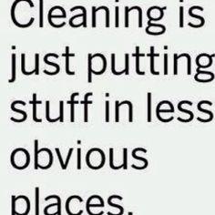 """hehehe Hubby HATES when I """"fake"""" clean (aka shove stuff in closets)"""