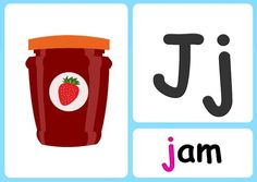 J alphabet flashcards Sing The Alphabet, Alphabet Writing Practice, Alphabet Phonics, Alphabet Songs, Phonics Chart, Learning Phonics, Phonics Sounds, Uppercase And Lowercase Letters, Simple Pictures