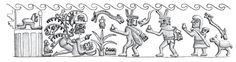 Sobre relieve con ceremonia de cópula entre Cara Arrugada y una mujer. Museo Larco, Lima-Perú. Dibujado por Percy Fiestas. Moche, Mochique. Sexualidad