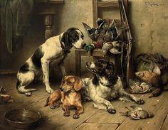 Depois da caça, s.d. Carl Reichert (Áustria, 1836-1918) óleo sobre madeira, 44 x 55 cm
