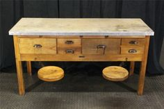 Antique-Sheldon-Science-Table-Cabinet-2-Swing-out-Stools-Concrete-Like-Top-Bar AWESOME KITCHEN ISLAND
