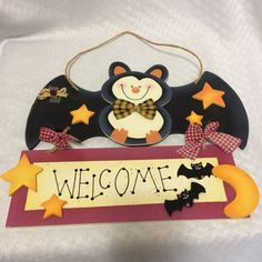 Hanging Welcome Sign Halloween Smiling Bat Stars Moon Plaid Bow Ties Lightweight #Unbranded