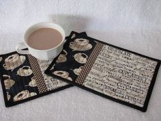 Quilted Mug Rugs with Cup Cake Word Theme Fabric in Brown's and Cream's with cute Coffee Cup Fabric Cottage Chic Set of Two Mug Mats