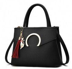 Women Luxury Black Faux-Leather Tote Messenger Bag with a Dazzling Tassel. Women  Handbags Ideas 60606bde962b4