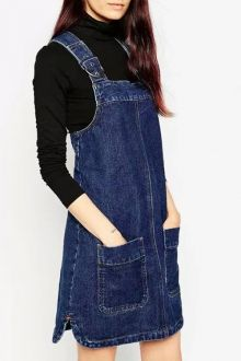 Shop ASOS Denim Pinafore Dress With Patch Pockets In Rich Blue at ASOS. Denim Pullover, Denim Jumper Dress, Dungaree Dress, Jeans Dress, Denim Overalls, Dungarees, Denim Pinafore, Pinafore Dress, Vestidos Jumper