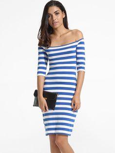 #AdoreWe #FashionMia Bodycon Dresses - FashionMia Off Shoulder Dacron Stripes Bodycon-dress - AdoreWe.com