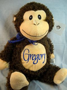 Monogrammed baby gift monkey birth announcement personalized by monogrammed baby gift monkey birth announcement personalized by world class embroidery babies monkey and baby gifts negle Images