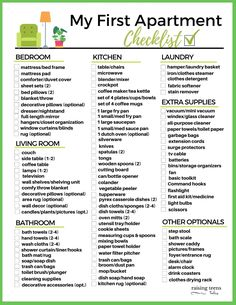 FREE PRINTABLE: My First Apartment Checklist. From furniture and kitchen necessities to cleaning supplies and all the extras, this handy list will make shopping for your first apartment (or house) a snap! #firstapartmentchecklist #firstapartment #firstapartmentchecklist #freeprintables