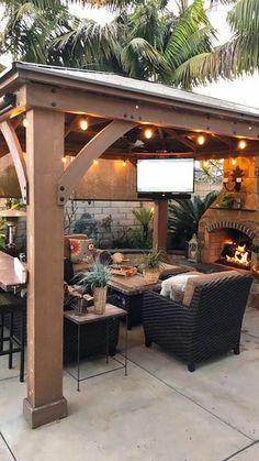 Backyard Pavilion, Backyard Gazebo, Small Backyard Patio, Backyard Patio Designs, Backyard Ideas, Backyard Pools, Diy Patio, Wood Patio, Budget Patio