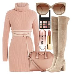 """turtleneck"" by unchie18 ❤ liked on Polyvore featuring Valentino, Givenchy, Gianvito Rossi, STELLA McCARTNEY, Carolina Herrera, Yves Saint Laurent, dress, beige and turtleneck"