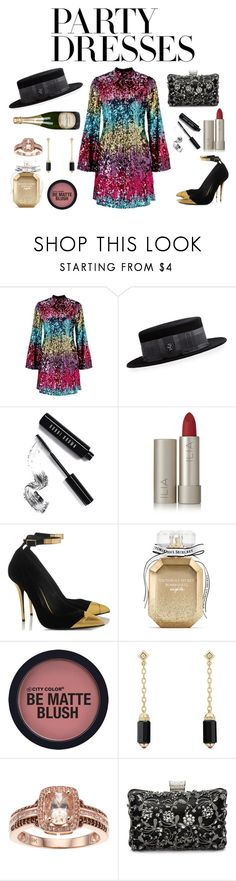 """#PolyPresents: Party Dresses"" by tiwik ❤ liked on Polyvore featuring Miss Selfridge, Philip Treacy, Bobbi Brown Cosmetics, Ilia, Victoria's Secret, David Yurman, Perrier-JouÃ«t, contestentry and polyPresents"
