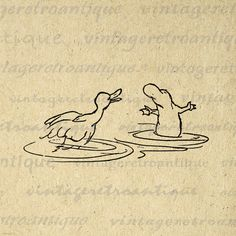 Digital Image Duck and Platypus Download Graphic Cartoon Illustration Printable Vintage Clip Art. Printable high quality digital graphic clip art. This high resolution digital illustration is great for iron on transfers, printing, pillows, papercrafts, tea towels, tote bags, and much more. For personal or commercial use. This digital image is high quality, large at 8½ x 11 inches. A Transparent background png version is included.