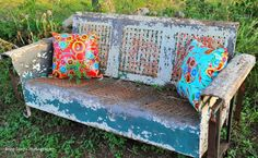 And who doesn't love a vintage glider, accessorized with colorful, oil-cloth pillows?