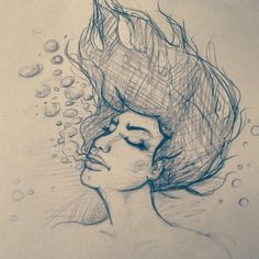 A little something I am working on.. #art #drawing #sketch #female #girl #pencil #underwater #unfinished